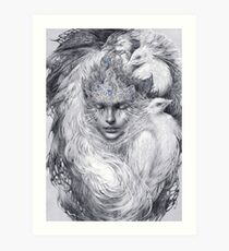 Fairy lady with white peacocks. Art Print