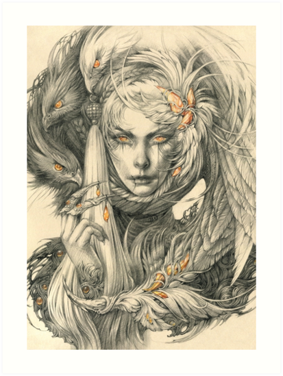 Lady with hawks and amber jewelry by DalfaArt
