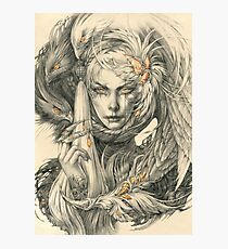 Lady with hawks and amber jewelry Photographic Print