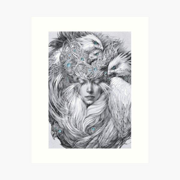Fairy fairy with white hawks Art Print