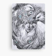 Fairy fairy with white hawks Canvas Print