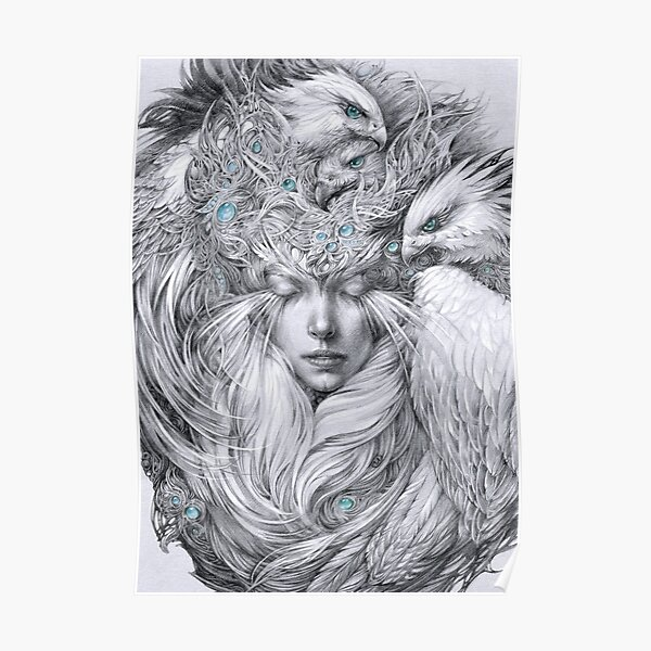 Fairy fairy with white hawks Poster