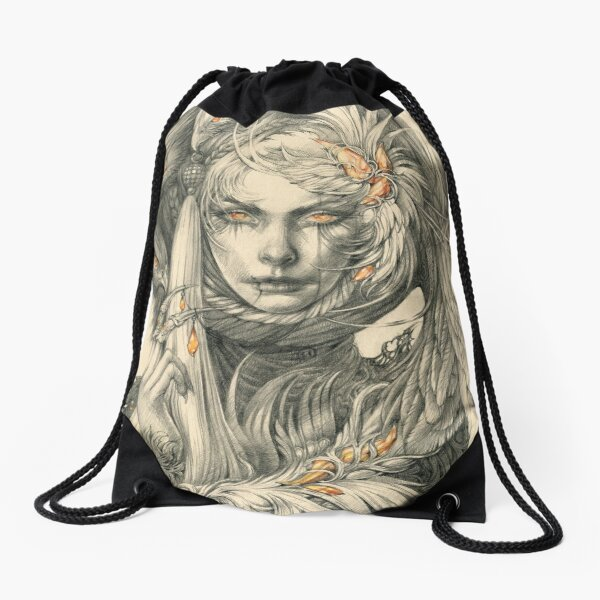 Lady with hawks and amber jewelry Drawstring Bag