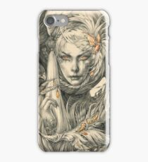Lady with hawks and amber jewelry iPhone Case/Skin