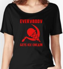 Everybody Gets Ice Cream - Red Women's Relaxed Fit T-Shirt
