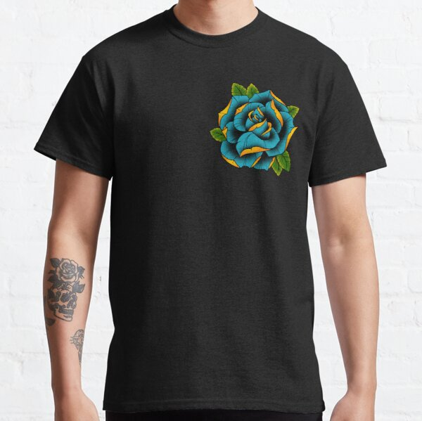 Neotraditional Rose in Blue Classic T-Shirt