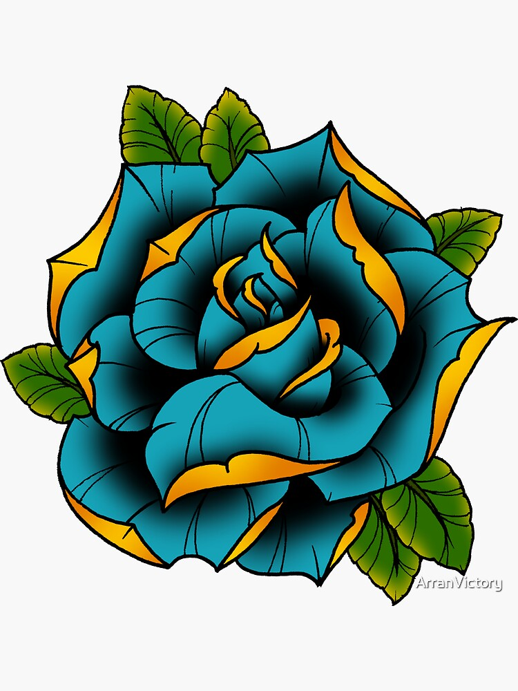 Neotraditional Rose in Blue by ArranVictory