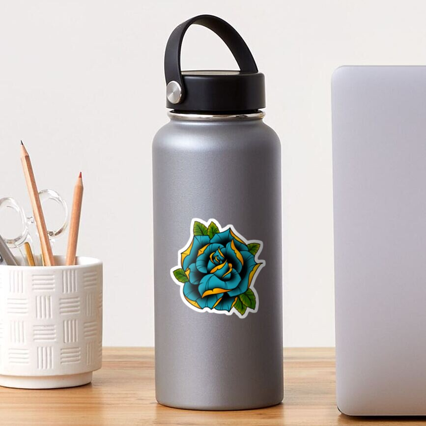 Neotraditional Rose in Blue Sticker