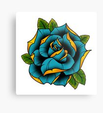 Neotraditional Rose in Blue Metal Print