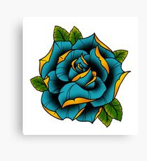 Neotraditional Rose in Blue Canvas Print