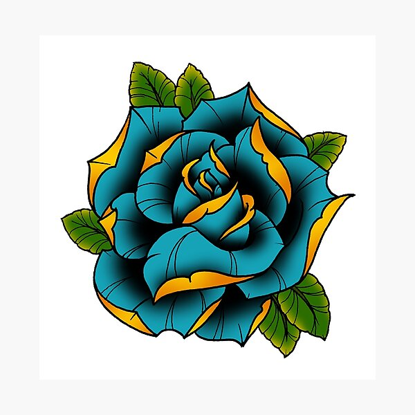 Neotraditional Rose in Blue Photographic Print