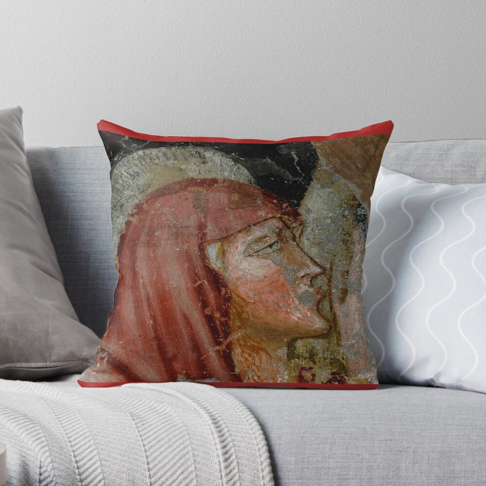 Mary Magdalene kisses the feet of crucified Christ Throw Pillow