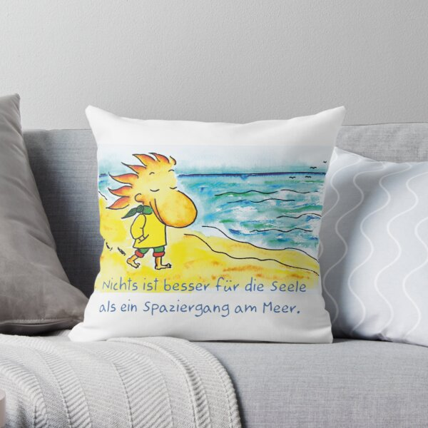 Walk by the sea Throw Pillow