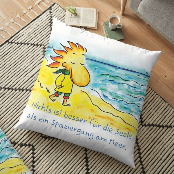 Walk by the sea Floor Pillow