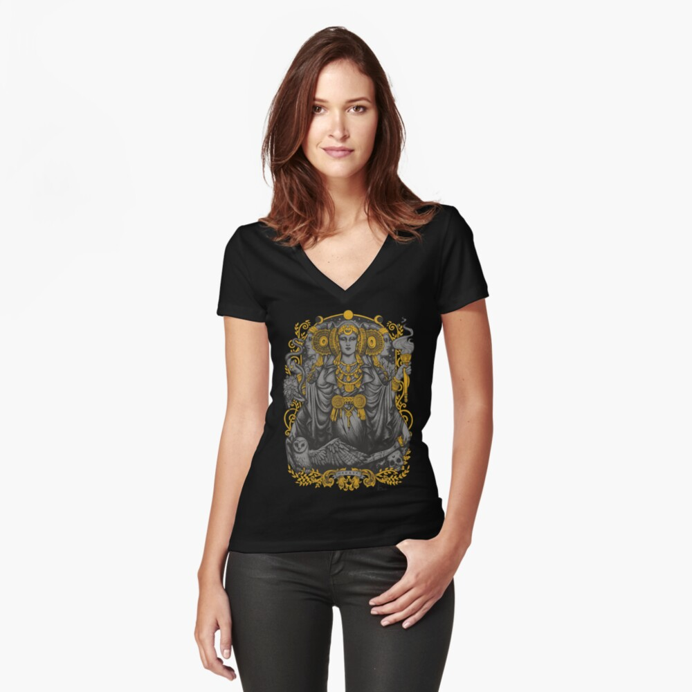 Iberian Hecate Gray Women's Fitted V-Neck T-Shirt Front