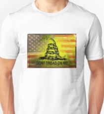 Don't Tread on Me Shirts & Sticker American Flag Background T-Shirt