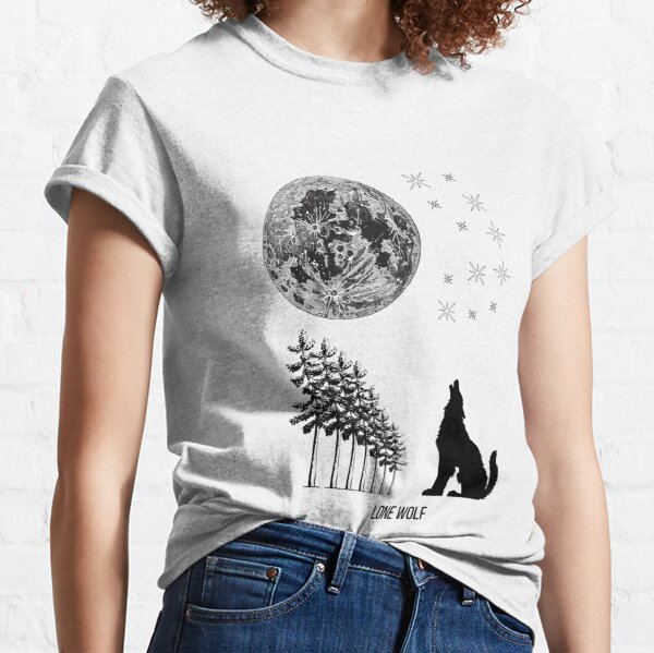 Lone Wolf Howling at the Moon White Classic T-Shirt