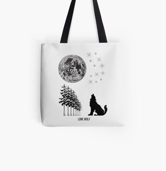 Lone Wolf Howling at the Moon White All Over Print Tote Bag