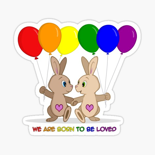 Skip and Pip (aka the Pride Bunnies) Pride 2016 Sticker