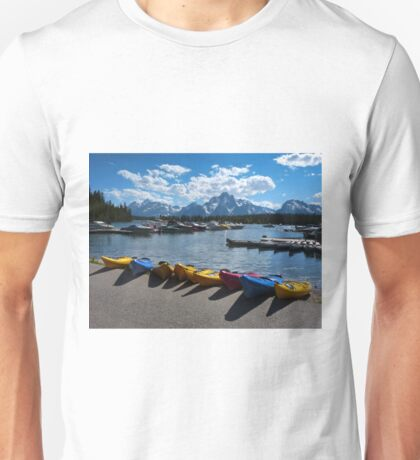 Red, Yellow and Blue Canoes on Shore T-Shirt