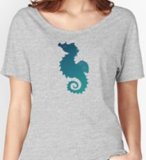 """""""Seahorse of a Different Color"""" by Amber Marine ~ sea life mixed media art, © 2016 Women's Relaxed Fit T-Shirt"""