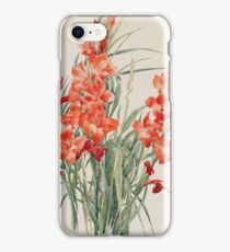 Vintage blue art - Charles Demuth - Red Gladioli iPhone Case/Skin