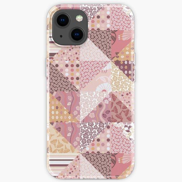 Faux Quilt Block-Peony Palette iPhone Soft Case