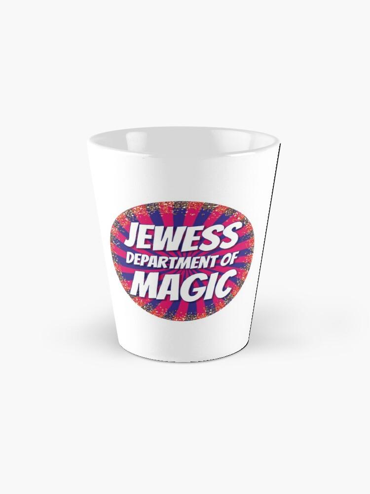 Alternate view of Jewess Department of Magic [round logo] Mug