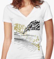 Golden Birds Women's Fitted V-Neck T-Shirt