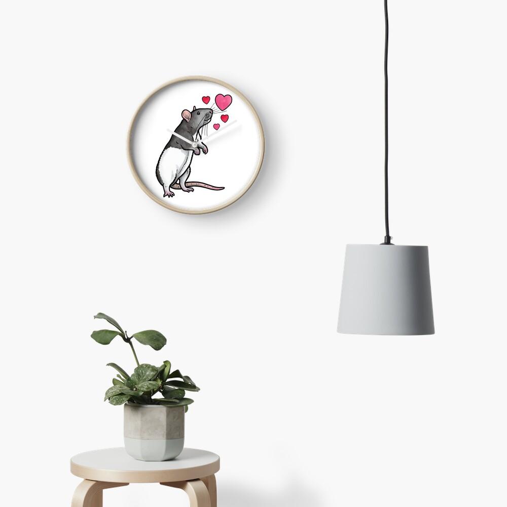 Hooded rat love (topear) Clock
