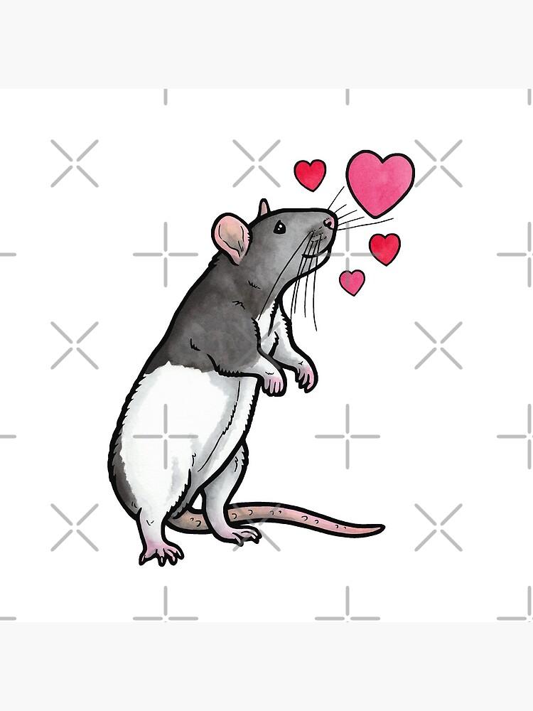 Hooded rat love (topear) by animalartbyjess