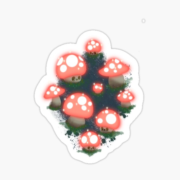 Glowing night time Fungi forest Sticker