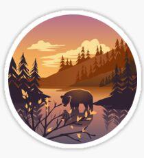 Bear - river forest landscape in sunset Sticker