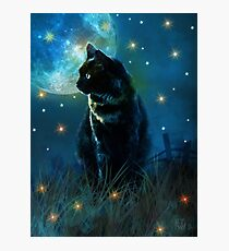 Sooty, Moon Cat Photographic Print