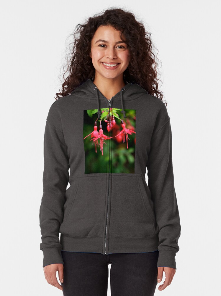 Alternate view of Fuchsia Hedge at Loch Na Fooey 3 Zipped Hoodie