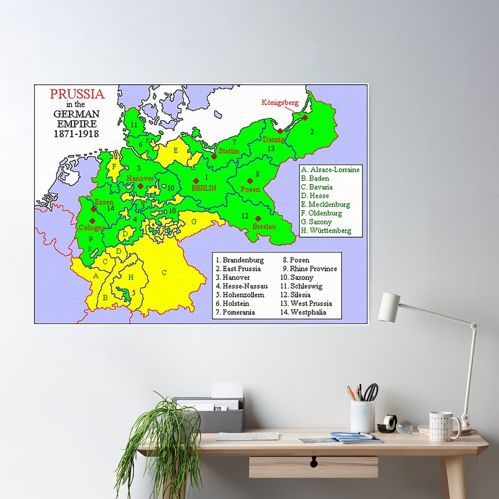 Map of the states of Prussia, 1871 Poster
