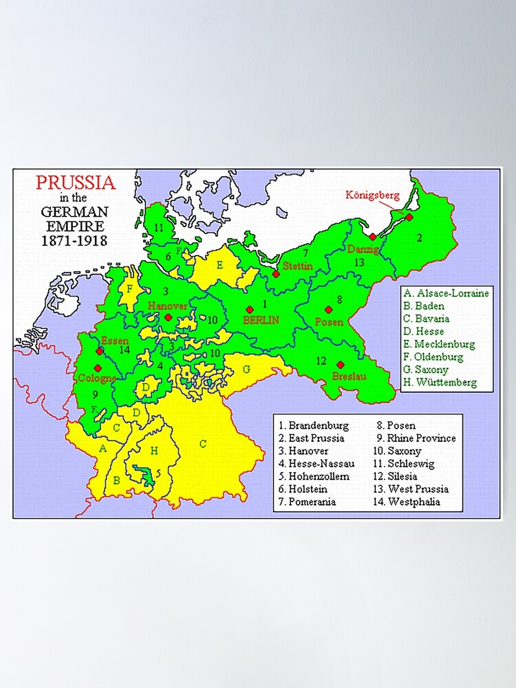Alternate view of Map of the states of Prussia, 1871 Poster
