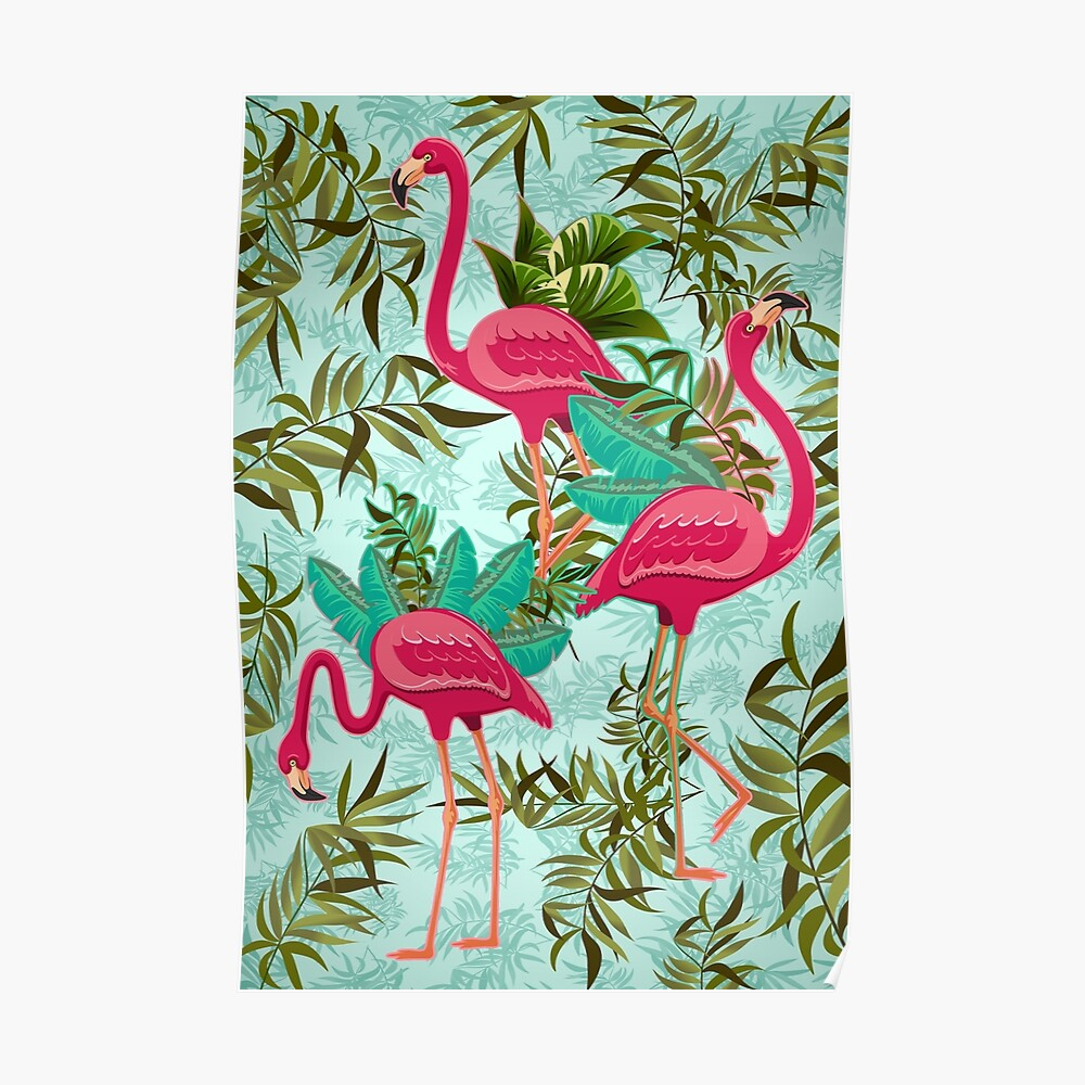 Pink Flamingos Exotic Birds Poster