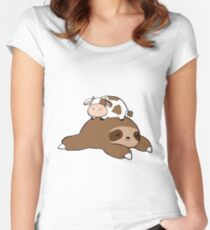 Sloth and Tiny Cow Women's Fitted Scoop T-Shirt