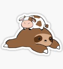 Sloth and Tiny Cow Sticker