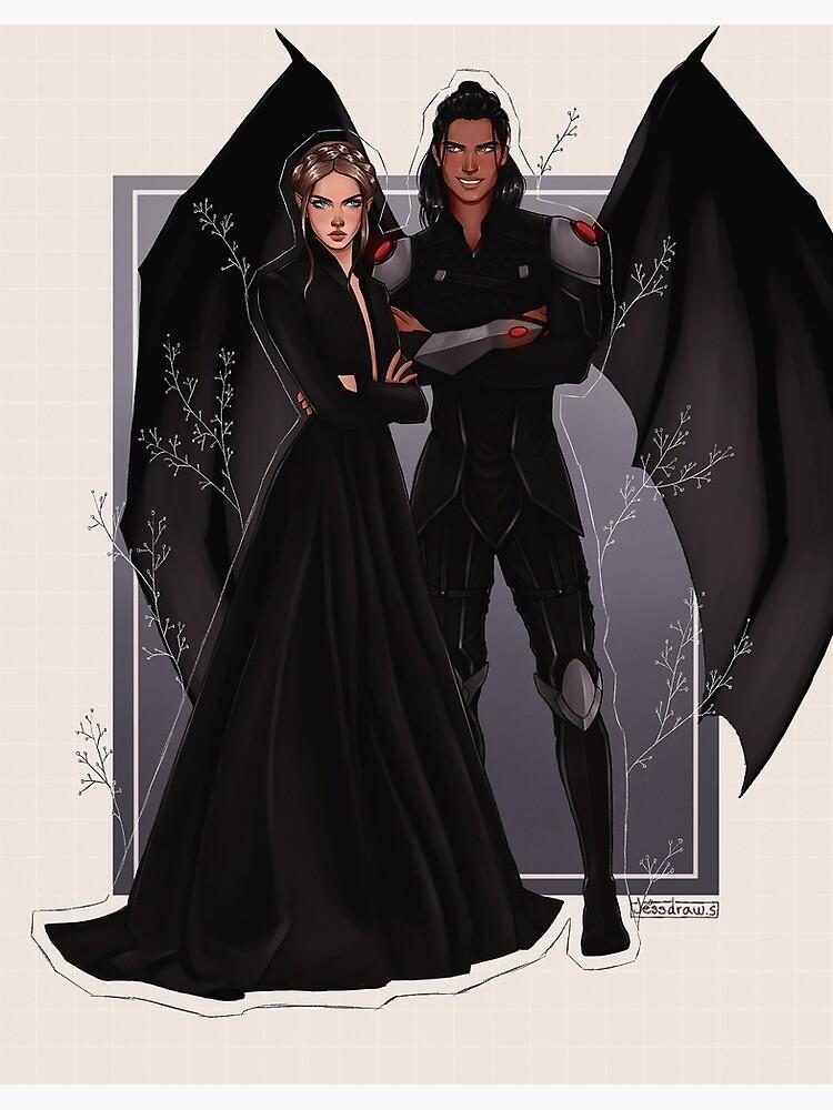 Nesta and Cassian fanart. by jessketchs