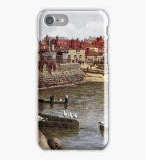 Aquarelle St Ives Cornwall Seagulls in the harbour iPhone Case/Skin