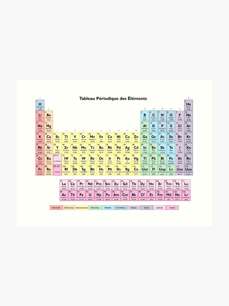 Tableau des Elements - Periodic Table in French | Art Print