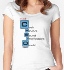CASH - ALCOHOL - SOUND - INTELLECTUALS - OMELET Women's Fitted Scoop T-Shirt