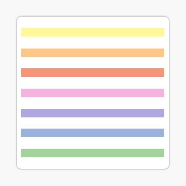 White and pastel rainbow stripes - horizontal Sticker