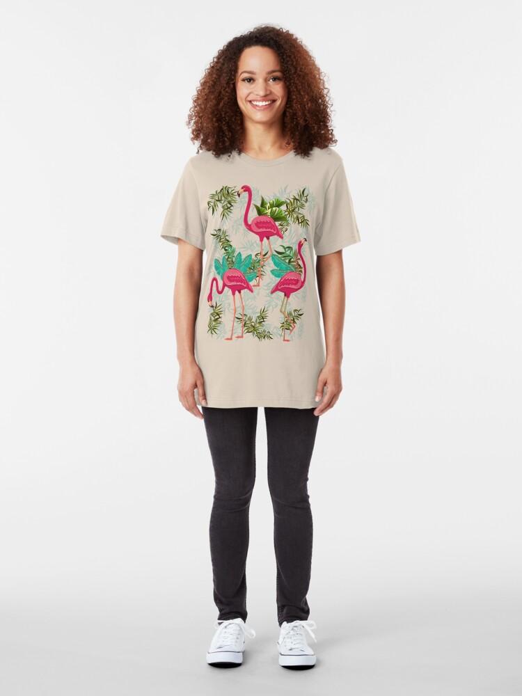 Alternative Ansicht von Pink Flamingos Exotic Birds Slim Fit T-Shirt