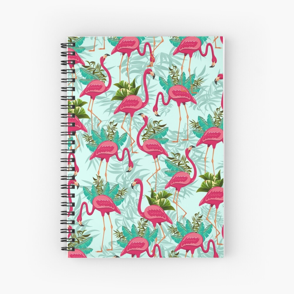 Pink Flamingos Exotic Birds Spiralblock