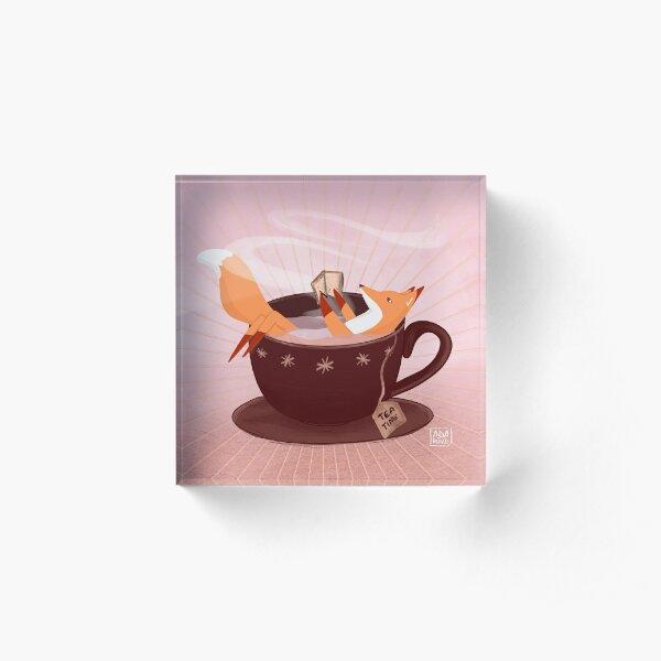 Fox tea time Acrylic Block