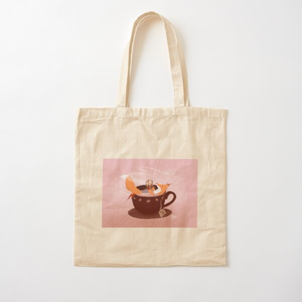 Fox tea time Cotton Tote Bag