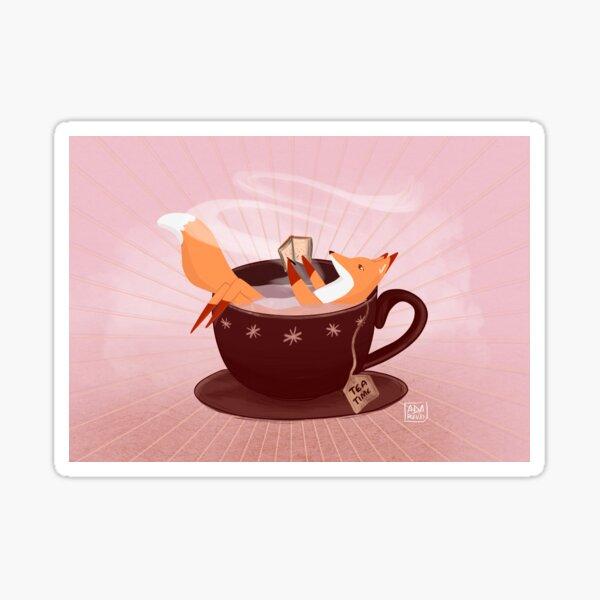 Fox tea time Sticker